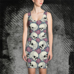 elliz clothing skulls and roses pattern bodycon dress