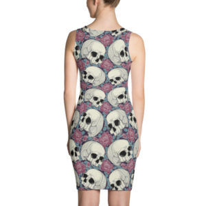elliz clothing skulls and roses pattern bodycon dress pink