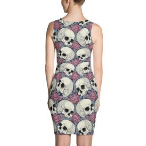elliz clothing skulls and roses pattern bodycon dress pink