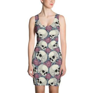 elliz clothing Vestido ajustado de calaveras y rosas
