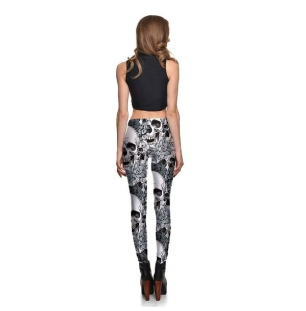 Elliz Clothing Black and White SkullsxFlowers graphic Sexy Leggings