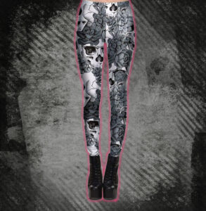 Elliz Clothing Black and White SkullsxFlowers graphic Sexy Leggings