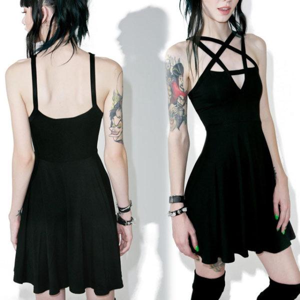 Elliz Clothing Crisscross Pentacle Gothic dress