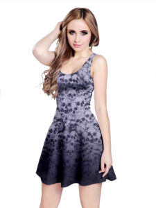 Elliz Clothing Gothic Skulls Reversible Purple Skater Dress