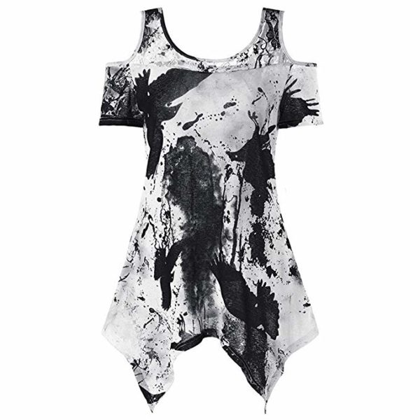 Ink Passion Cold Shoulder Tunic Blouse