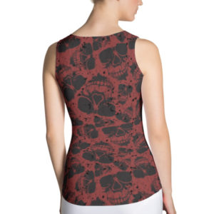 Skulls Pattern Red Gothic Tank Top