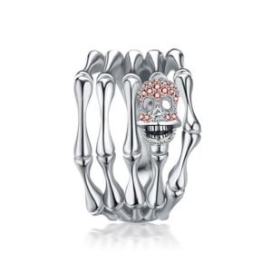 elliz clothing Red Crystals Skull Silver Skeleton Bones Ring