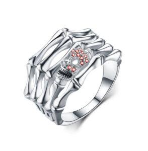 elliz clothing Red Crystals Skull Silver Skeleton Bones Ring