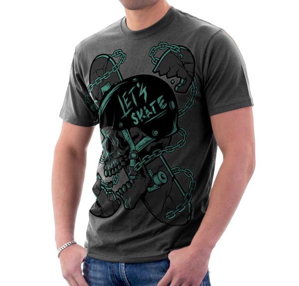 Elliz Clothing Let's Skate T-Shirt Skater Skull Graphic