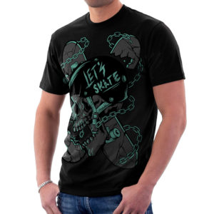 Elliz Clothing Let's Skate T-Shirt Skater Skull Graphic black
