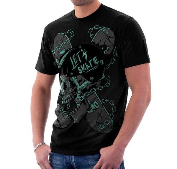 Elliz Clothing Let's Skate T-Shirt Skater Skull Graphic black