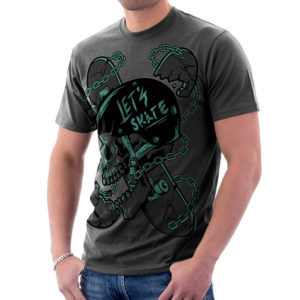 Elliz Clothing Let's Skate T-Shirt Skater Skull Graphic