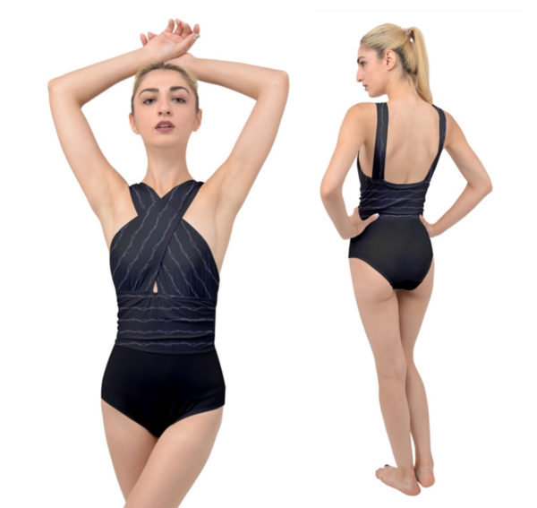 Barb Wire Cross-Front One Piece Gothic Swimsuit