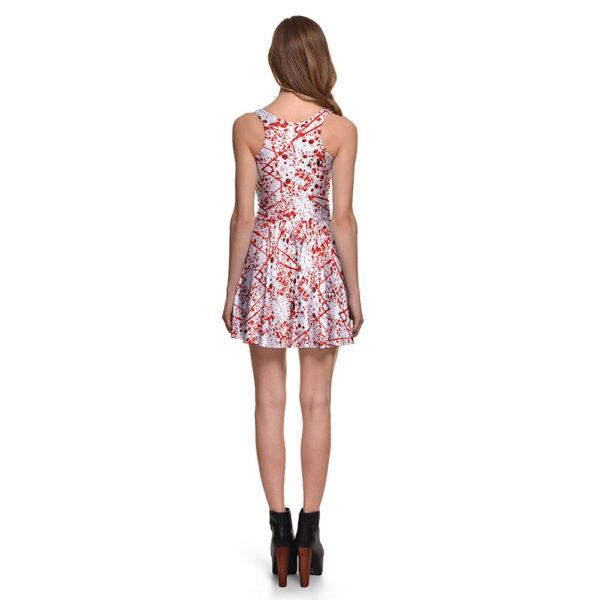 Blood Splattered Halloween Pleated Skater Mini Dress 02