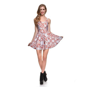 Blood Splattered Halloween Pleated Skater Mini Dress 02