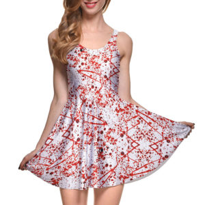 Blood Splattered Halloween Pleated Sleeveless Skater Mini Dress