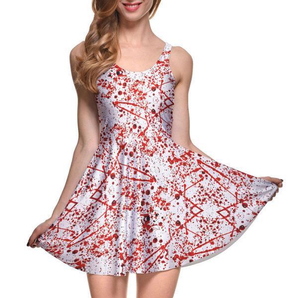 Blood Splattered Halloween Pleated Sleeveless Skater Mini Dress
