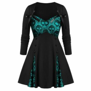 Elliz Clothign Sweetheart Collar Lace Halloween Dress