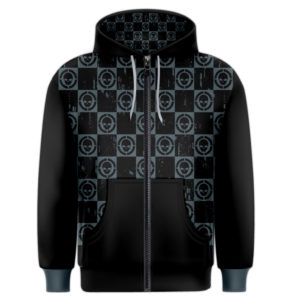 Elliz Clothing Checkered Skulls Pattern Men's Zipper Hoodie