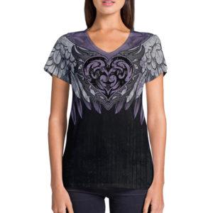 Elliz Clothing Coração Roxo Camiseta Com Decote Em V