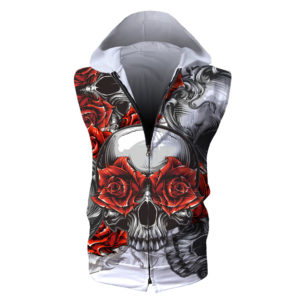 Hellraiser Skulls Roses Zip-up Hooded Vest