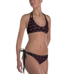 T-Rex Skeleton Pattern Reversible Bikini