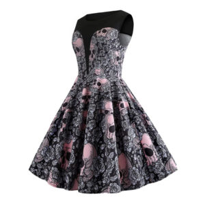 Halloween Vintage Skulls Floral A-line Rockabilly Dress