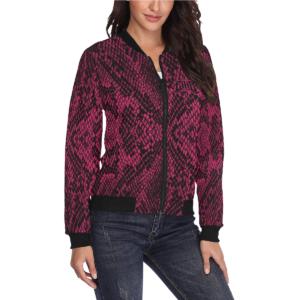 Elliz Clothing Pink Python Snake Print Bomber Jacket