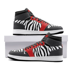 Elliz Clothing White/Red Zebra Print Retro Basketball Sneakers