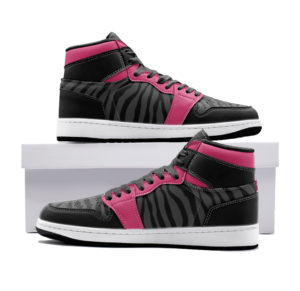 Elliz Clothing Pink/Dark Grey Zebra Print Retro Basketball Sneakers