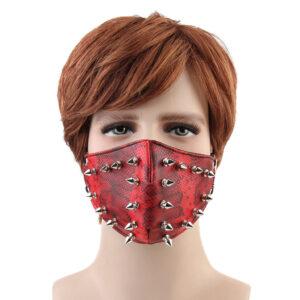 Elliz Clothing Gothic Studded Leather Face Masks
