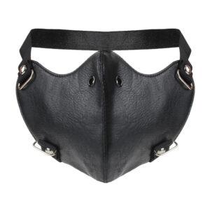 Elliz Clothing Gothic Studded Leather Face Masks Black